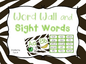 Word Wall Letters Zebra Print Jungle Background and first 300 Fry Sight Words