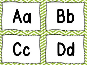Word Wall Letters and 100 Fry Words -Green Chevron