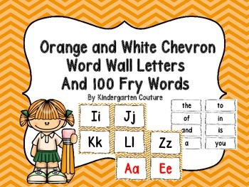 Word Wall Letters and 100 Fry Words - Orange Chevron