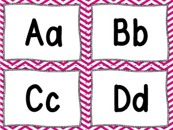 Word Wall Letters and 100 Fry Words -Pink and White Chevron