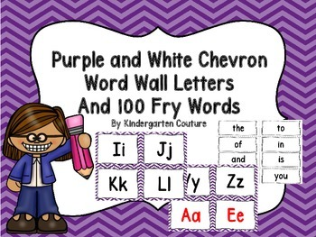 Word Wall Letters and 100 Fry Words -Purple and White Chevron