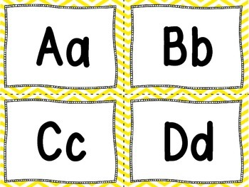 Word Wall Letters and 100 Fry Words - Yellow and White Chevron
