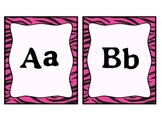 Word Wall Letters and Dolch Words- Pink Zebra Theme