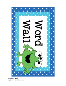 Word Wall Letters and Header Monster Polka Dot Theme