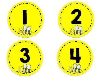 Word Wall Letters - and Numbers 1-32 - BEE Theme