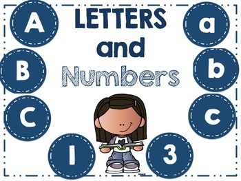 Word Wall Letters - and Numbers 1-32 - Blue