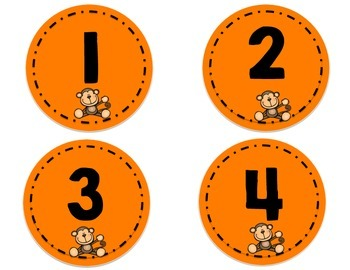 Word Wall Letters - and Numbers 1-32 - Monkey Theme