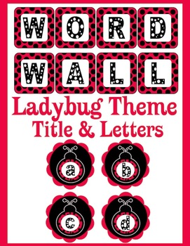 Word Wall Letters and Title *Ladybug Theme*