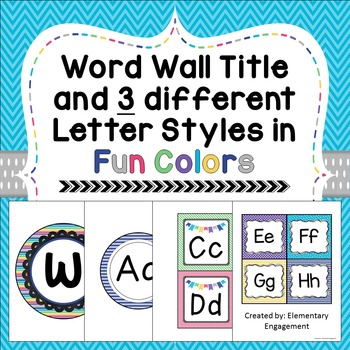 Word Wall Letters and Title in 7 Fun Colors