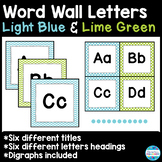 Word Wall Letters and Title in Light Blue and Lime Green