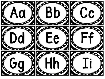 Word Wall Letters (black and white trim) and 100 Fry Words