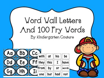 Word Wall Letters (blue trim) 100 Fry Words