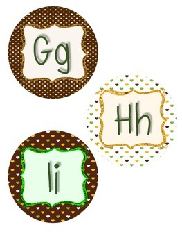 Word Wall Letters (green,brown,yellow)  **FREE**  Back To School