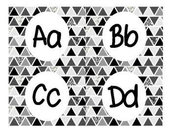 Word Wall Letters in Black and White Glitter