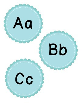 Word Wall Letters (teal scalloped circles)