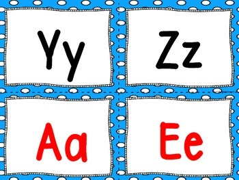"""Word Wall Letters on Bright Blue with Polka Dots and """"200"""" Fry Words"""