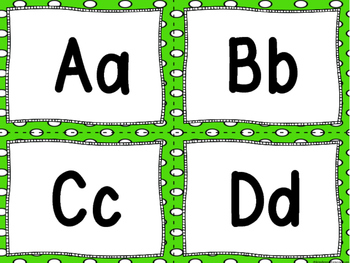 """Word Wall Letters on Bright Green with Polka Dots and """"200"""" Fry Words"""