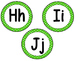 """Word Wall Letters on Bright Green with Polka Dots and """"200"""