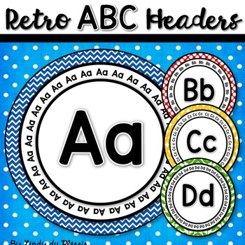 Round Word Wall Headers Retro Style