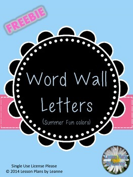 Word Wall Letters (summer fun colors)  **FREE**  Back to School