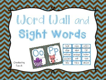 Word Wall Letters with Blue and Brown Chevron  and first 300 Fry Sight Words