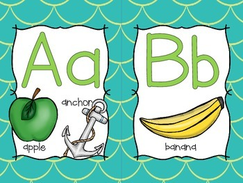Word Wall Letters with Green/Teal Mermaid Background - First 300 Fry Sight Words