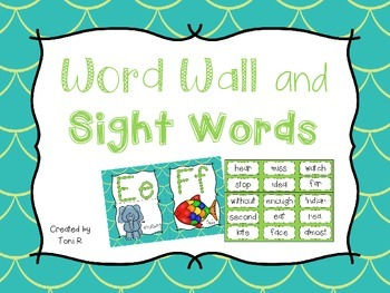 Word Wall Letters with Green/Teal Mermaid Background - Fir