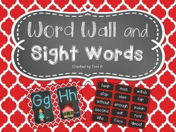 Word Wall Letters with Red Moroccan Background and first 300 Fry Sight Words