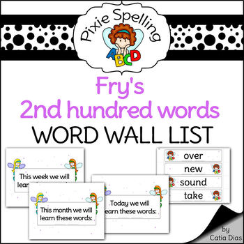 Spelling - Fry 2nd hundred words  Word Wall List