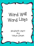 Word Wall Lists