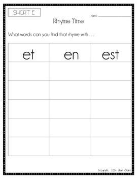 Word Work Literacy Center Activity Packet- Short E