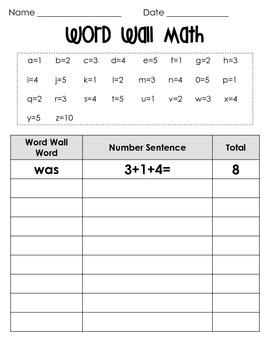 Word Wall Math