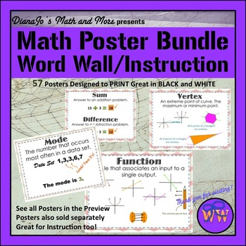 Word Wall Math BUNDLE POSTER Set