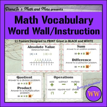 Word Wall Math Vocabulary POSTER Set