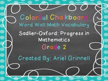 Word Wall Math Vocabulary set for Progress in Mathematics