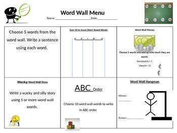 Word Wall Menu