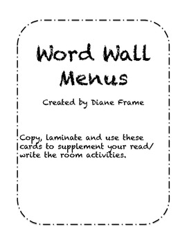 Word Wall Menus