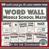 MATH VOCABULARY WORD WALL Middle School 120+words w Defini