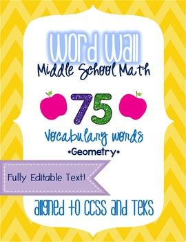 Word Wall - Middle School Math - Geometry EDITABLE