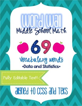 Word Wall - Middle School Math - Data and Statistics EDITABLE