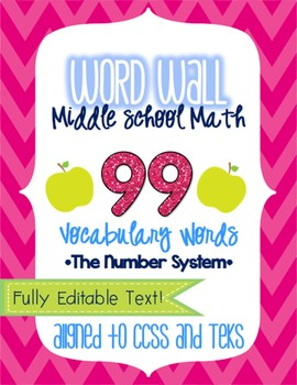 Word Wall - Middle School Math - The Number System EDITABLE