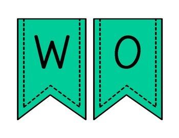 Word Wall Mint Leopard Letters