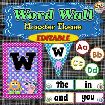 EDITABLE Word Wall Display with Alphabet, Banners and Fry Words - Monsters Theme