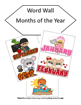 Word Wall Months of the Year