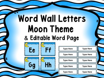 Word Wall Moon/Space With Editable Word Page