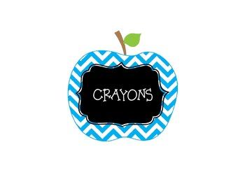 Multi Color Chevron Apple Theme Classroom Labels