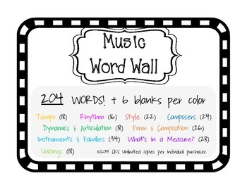Word Wall Music flip flop theme {204 music words!}