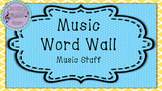 Music Word Wall- Music Staff (Purple Background)