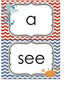 Word Wall Nautical Theme (25 sight words and ABC's)