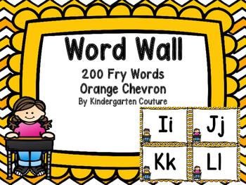 Word Wall Orange Chevron and 200 Fry Words